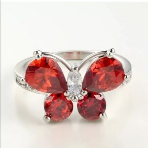 Jewelry - Sterling Silver Crystal Butterfly Ring